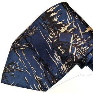 Blue silk Christmas Adolfo tie